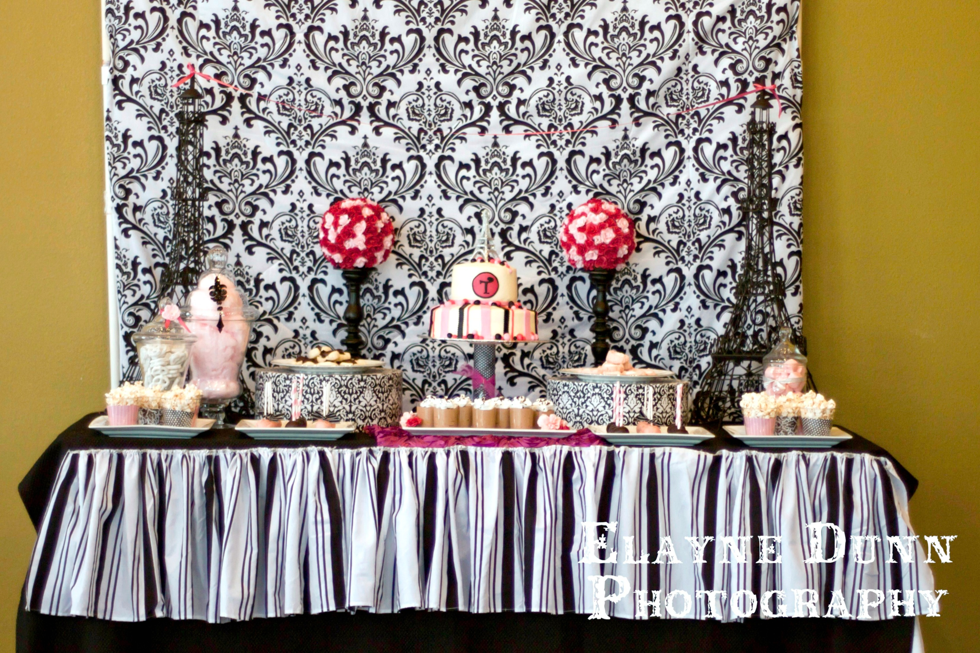 Paris Party Dessert Table_2 & Black White and Pink Paris Party - Giggles Galore