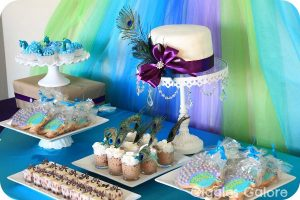Peacock Party Dessert Table_Giggles Galore