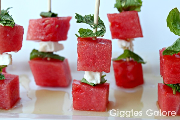 Watermelon, Mint and Feta Kabobs - Giggles Galore