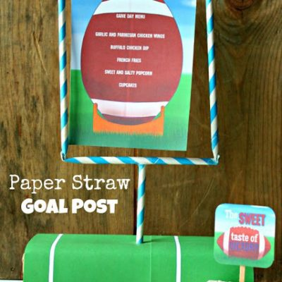 Striped Paper Straw Goal Post {Football Party}