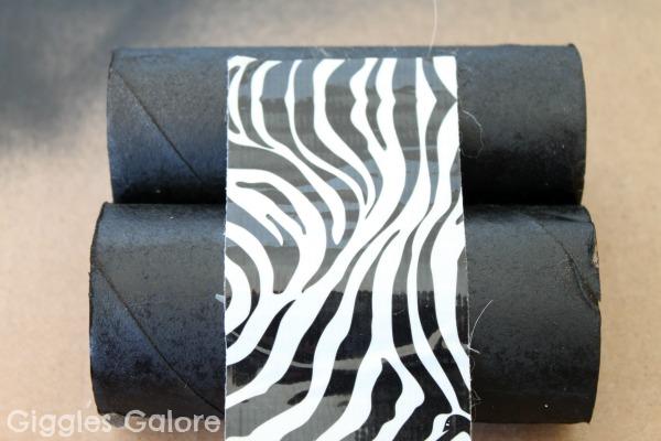 Diy safari binoculars zebra duct tape
