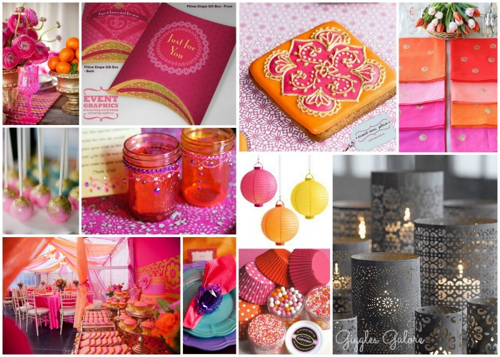Photo Credits (top left to bottom right) Table Setting Favor Boxes Moroccan Cookies Gold Polka Dot Napkins Pink and Gold cake pops Jeweled Mason Jars ... & Moroccan Party Inspiration Board - Giggles Galore