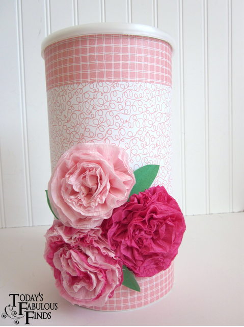 Valentine box flowers on oatmeal container