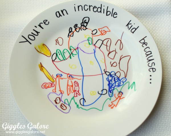 You will need a plain white ceramic plate (mine are from the dollar store) and permanent markers. & Incredible Kid Day Plate
