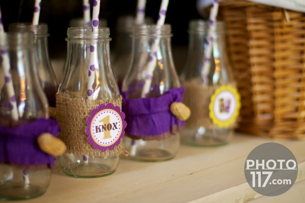Pbj party milk bottles