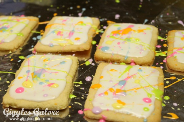 Splatter paint cookies art gallery party giggles galore
