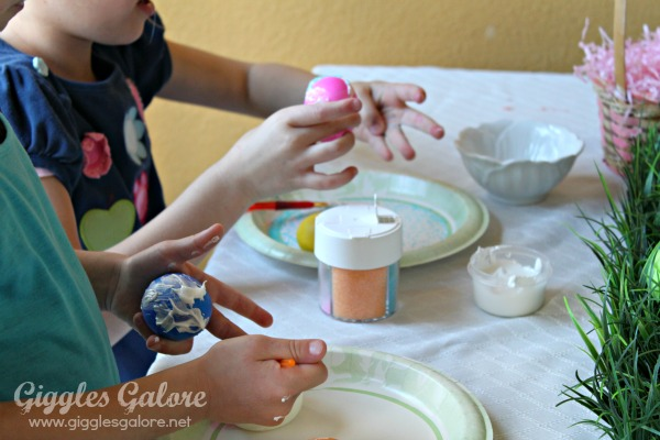 Sugar decorated easter eggs painting