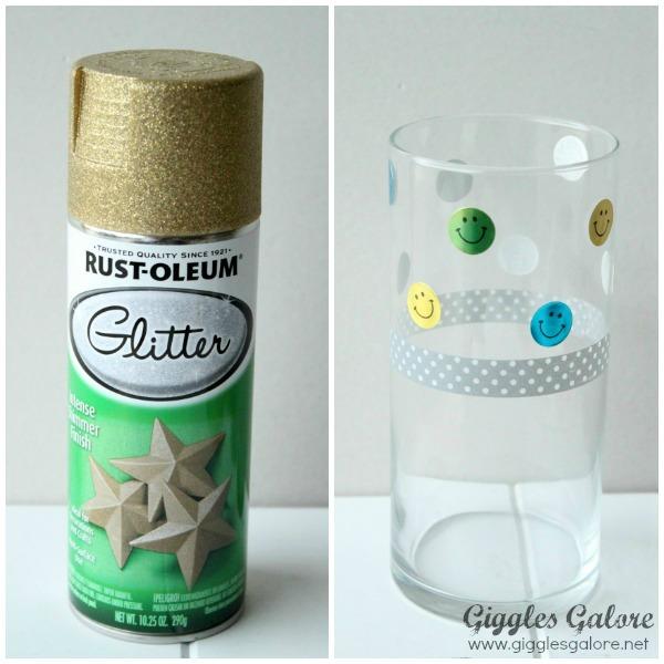 Glitter spray paint vase