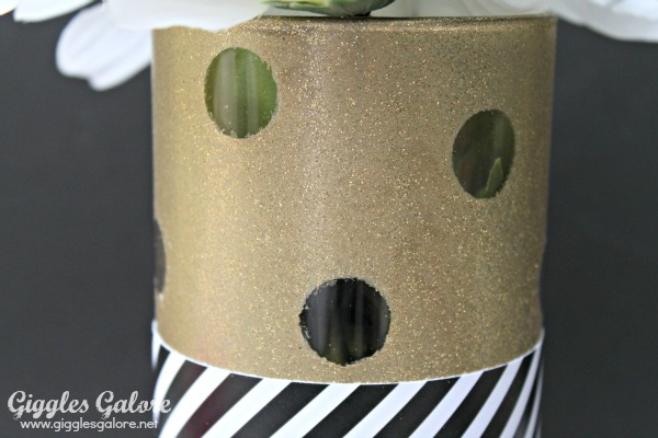 Glittery and gold spray paint polka dot vase