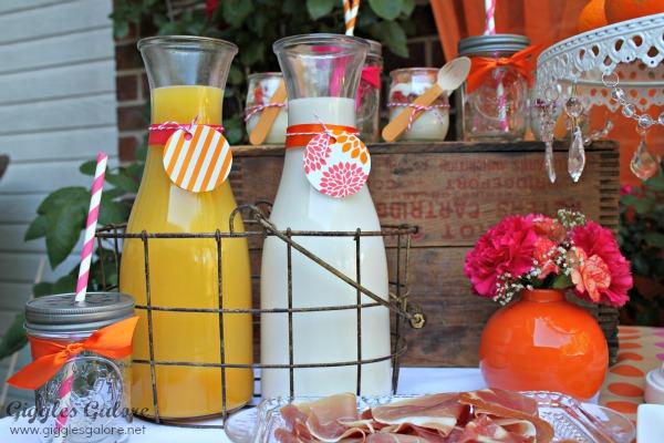 Mothers day brunch orange juice and milk