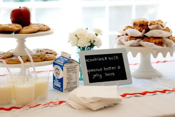 Peanut butter jelly bars milk cookies baby shower menu ideas 580x387