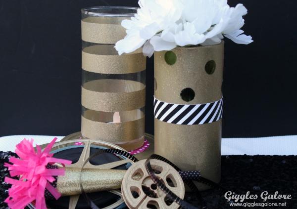 Diy gold glitter vase centerpiece