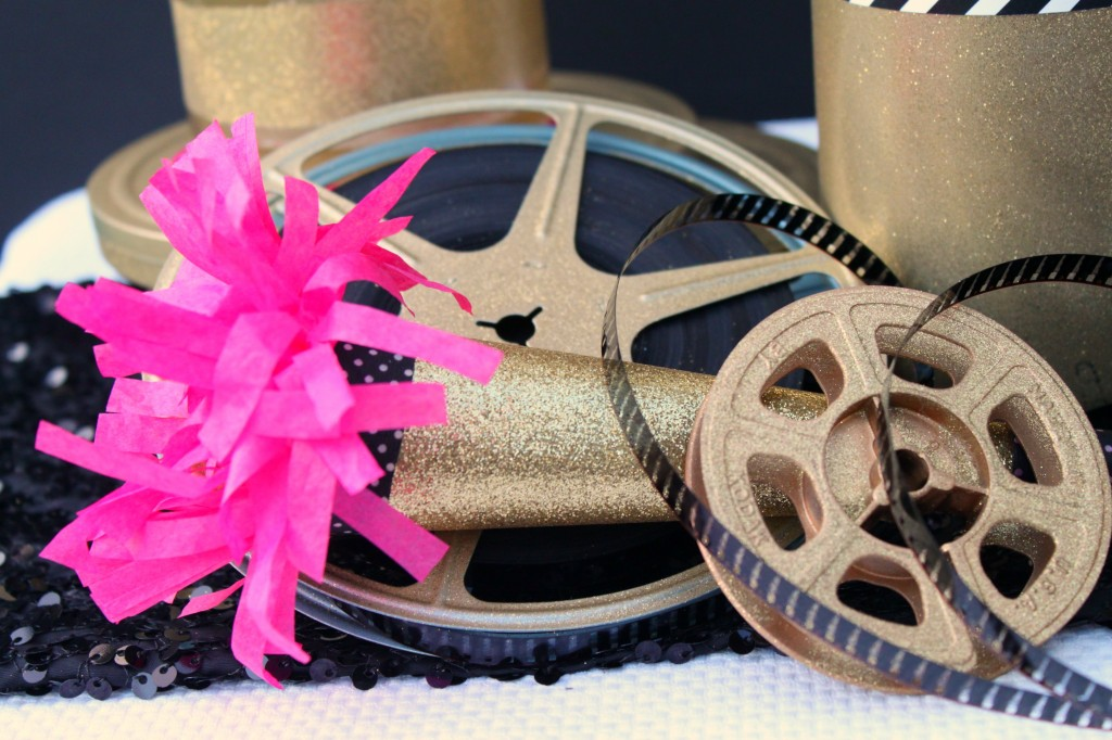 Gold glitter movie reel party horn