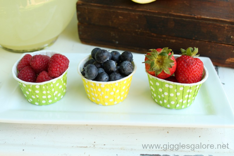 Fresh fruit in baking cups