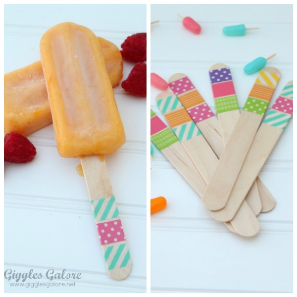 Homemade popsicles with washi tape popsicle sticks