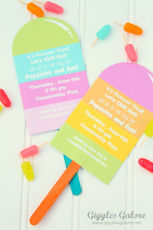 Popsicle and pool party invitations