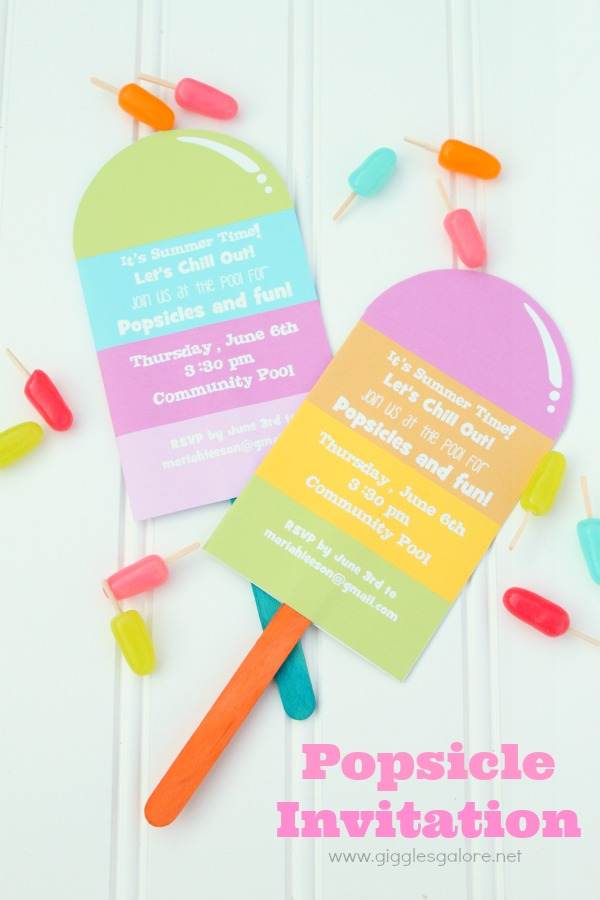 Popsicles and pool party invitation