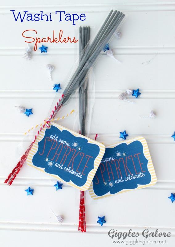 Washi tape sparklers via giggles galore