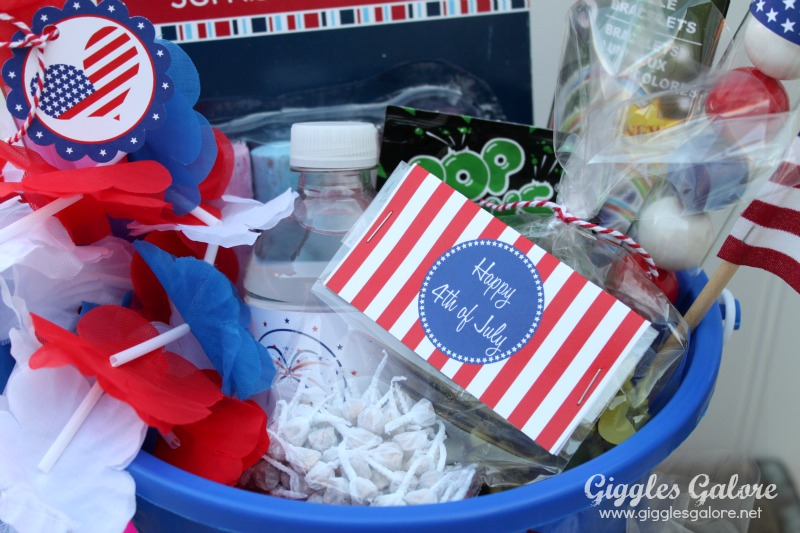 4th of july celebration bucket goodies