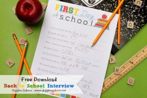 Back to School Interview Printable {Free Download}
