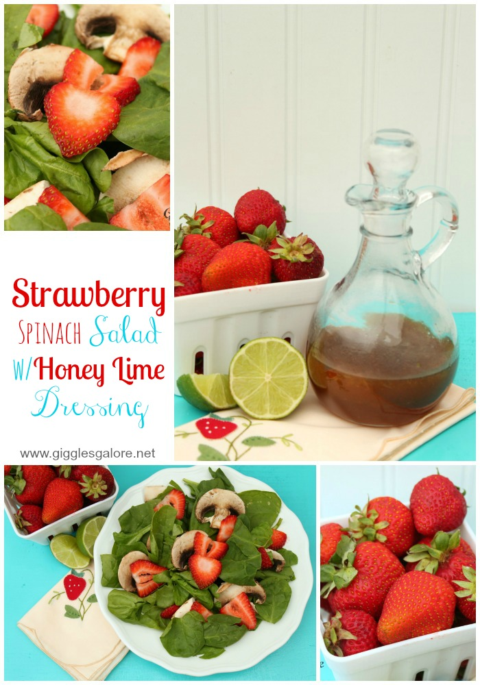 Strawberry Spinach Salad with Honey Lime Dressing_Giggles Galore