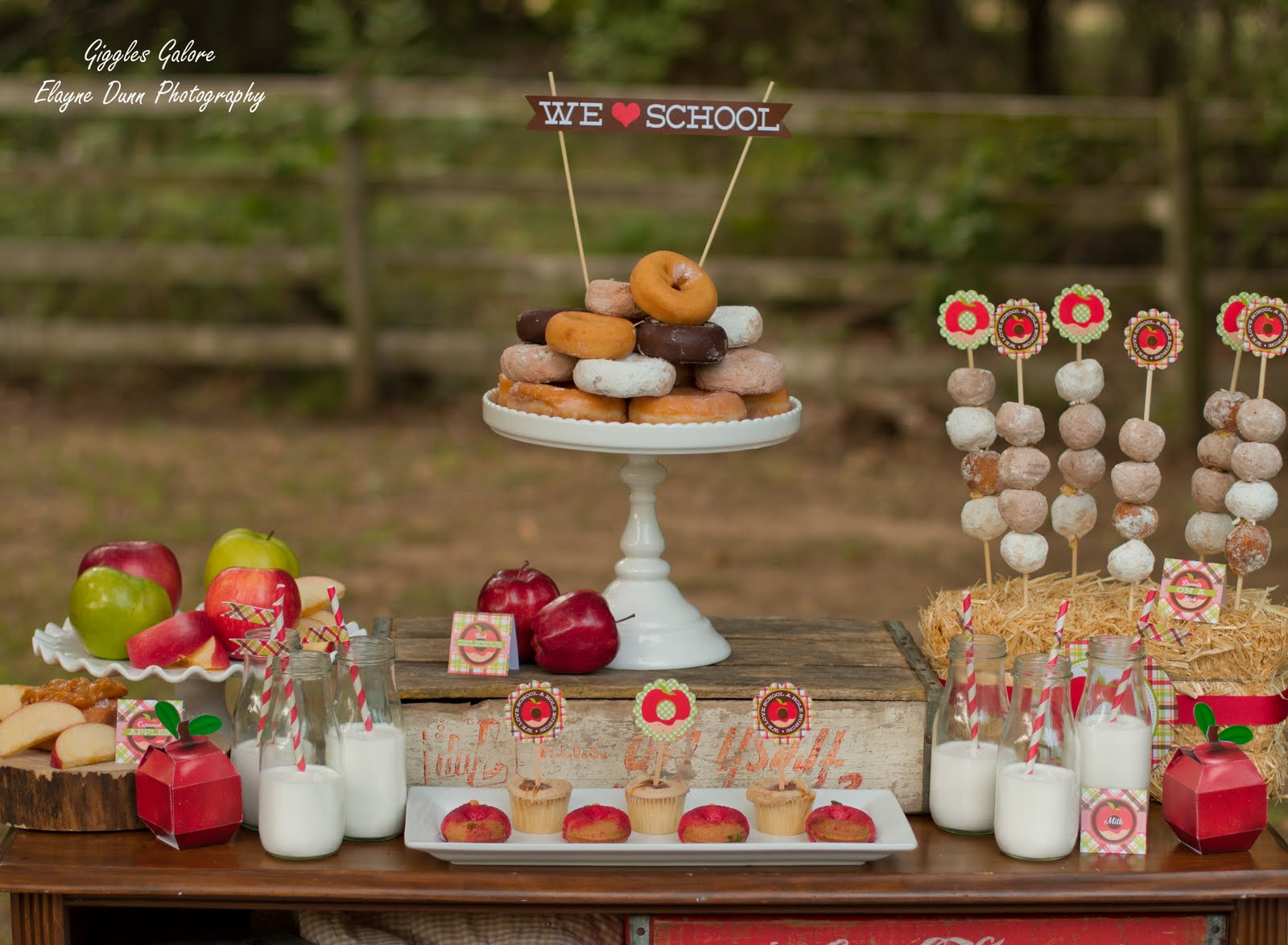 Apples and donuts back to school party for Back to school party decoration ideas