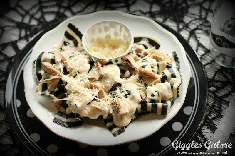 Black and White Striped Pasta