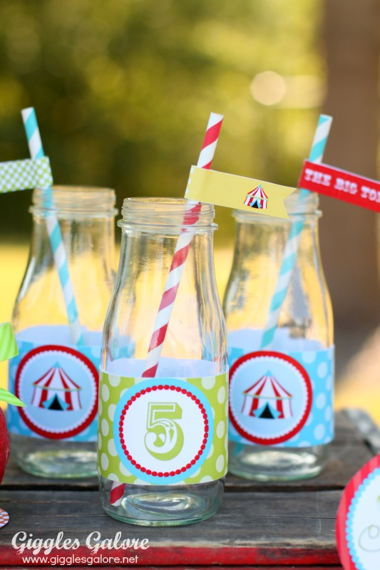 Circus Drink Bottles with Striped Straws Giggles Galore