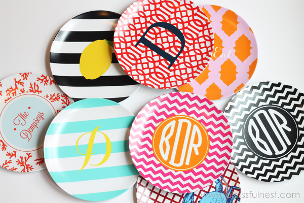Monogram-Melamine-Plates-A-Blissful-Nest