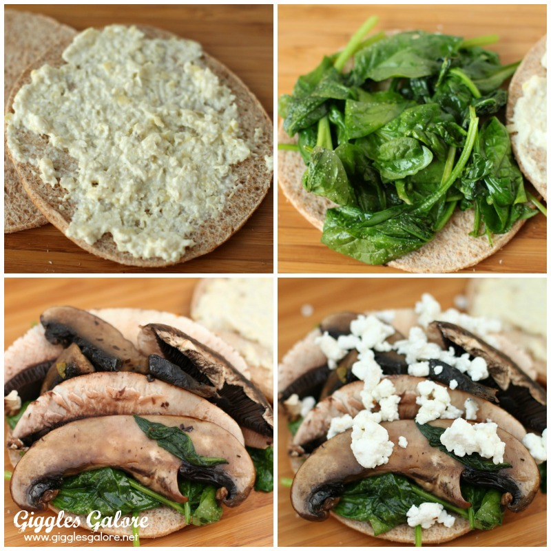 Portobello Mushroom Spinach Sandwich Steps
