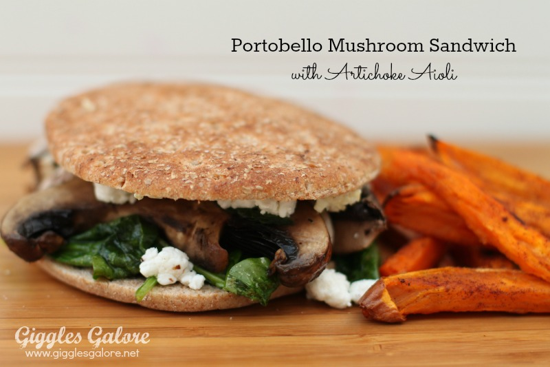 Portobello Mushroom Spinach Sandwich with Artichoke Aioli