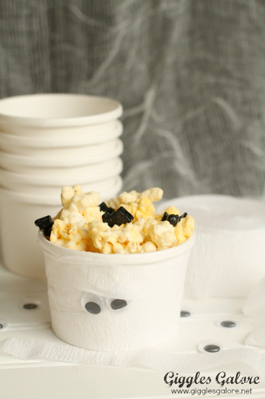 Giggles Galore Mummy Cups with Halloween Popcorn
