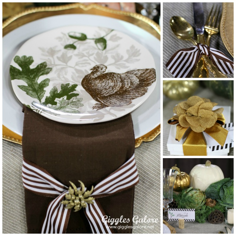 Brown, Green and Gold Thanksgiving Table Setting