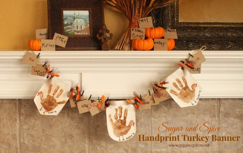 Sugar and Spice Handprint Turkey Banner_Giggles Galore