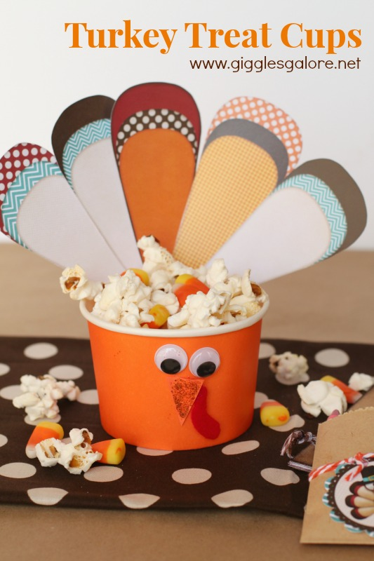 Turkey Treat Cups with popcorn