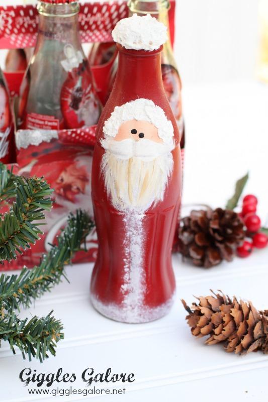 Hand Painted Coke Bottle Santa