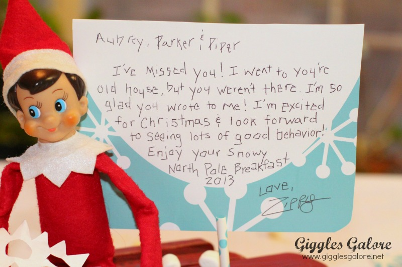 North Pole Breakfast Elf Note