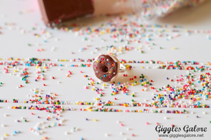 Polymer Clay Donut Ring on Sprinkles