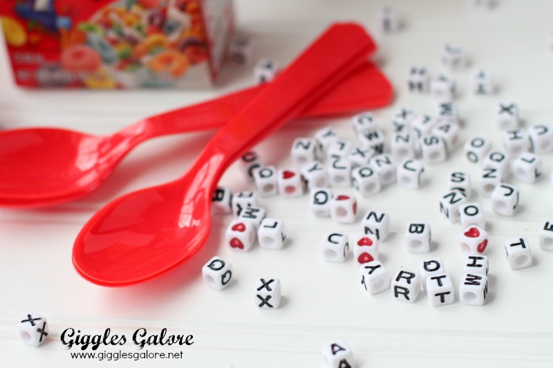 Cereal Valentines Letter Spoons