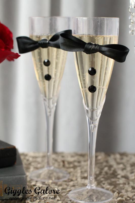 DIY Tuxedo Champagne Flutes