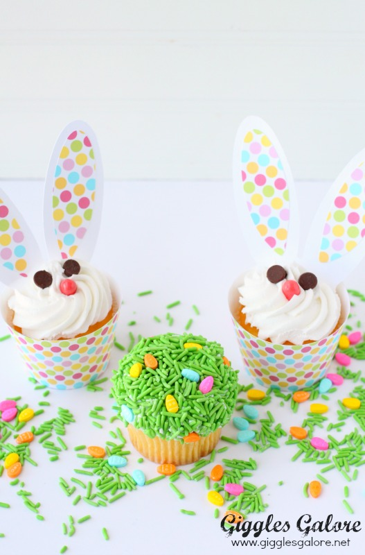Easter Bunny and Easter Grass Cupcakes
