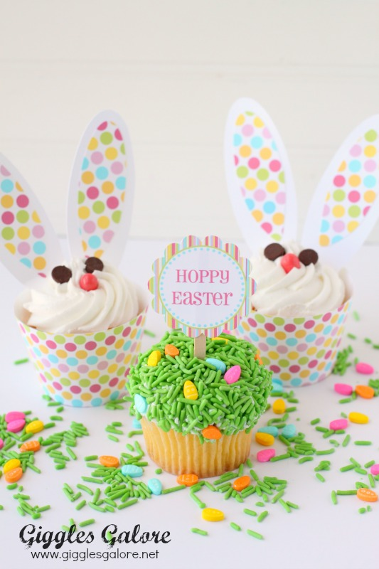 Easter Bunny and Grass Cupcakes
