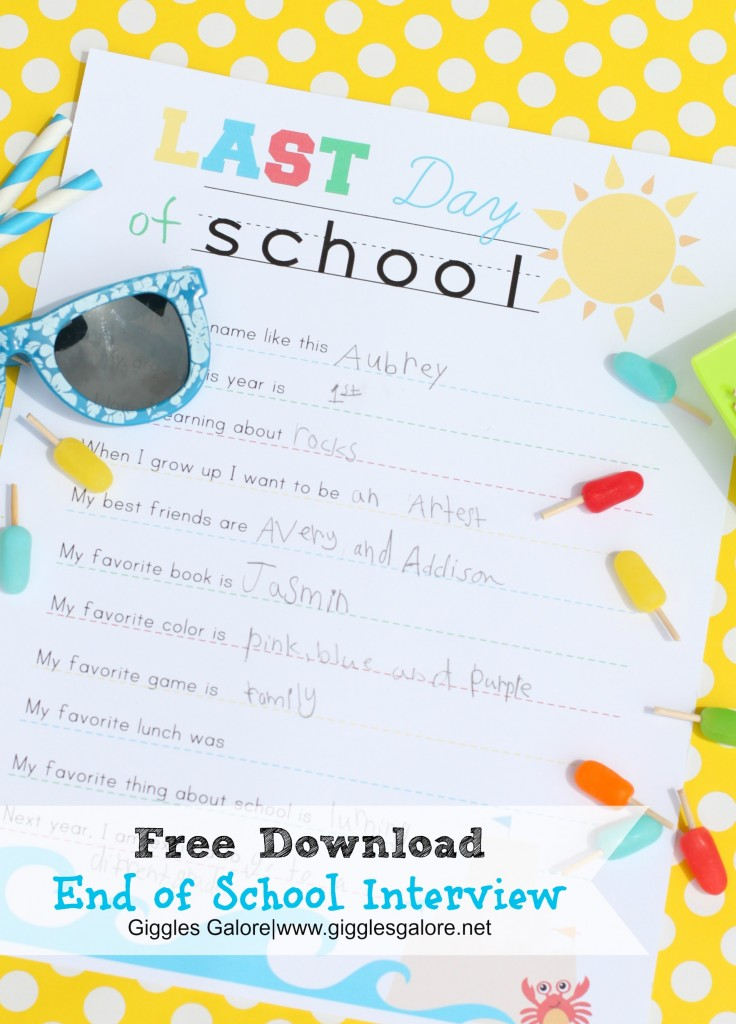 End of School Interview Printable by Giggles Galore