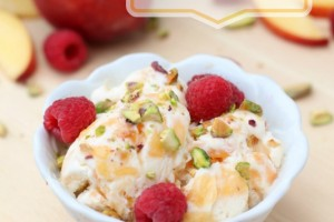 Homemade Peach Ice Cream with Pistachios