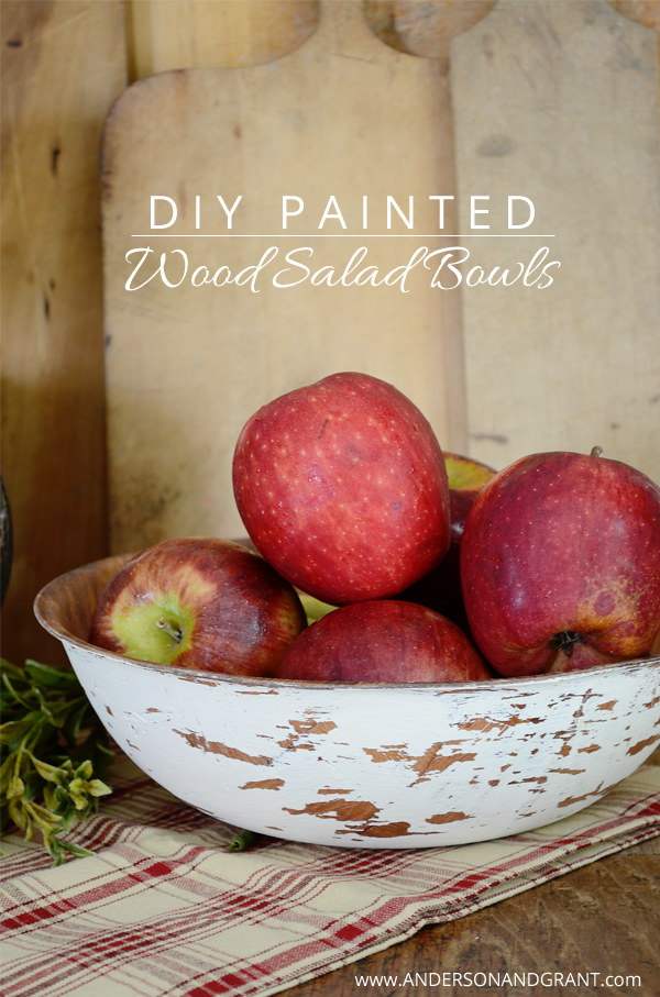 DIY Painted Wood Salad Bowls from Anderson and Grant