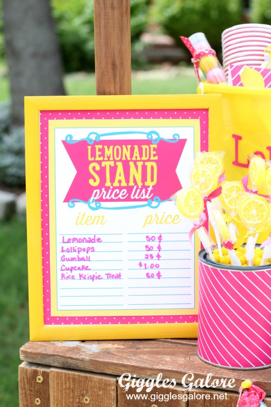Lemonade Stand Price List_Giggles Galore