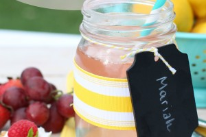 Mason Jar Picnic Containers and Stamped Napkins_Giggles Galore