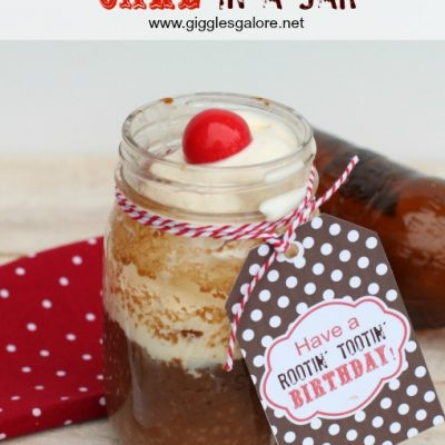 Root Beer Float Cake in a Jar