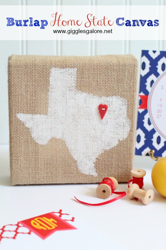 Burlap Home State Canvas _Giggles Galore