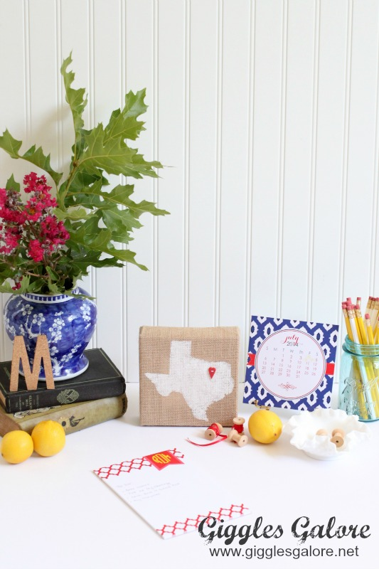 Desk Makeover with Burlap Home State Canvas